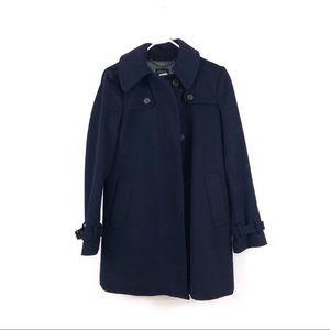 J. Crew Navy Blue Duffle Wool Coat Hooded Jacket
